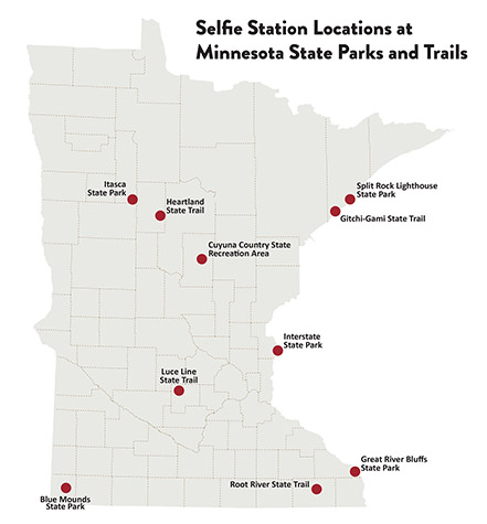 Map of Minnesota showing the locations of selfie stations in Minnesota State Parks and Trails