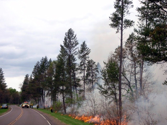 Resource managers use fire breaks, such as roads, to manage the prescribed fires.