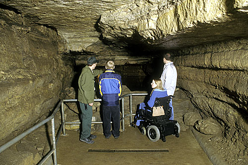 People on the accessible Scenic Tour of Mystery Cave