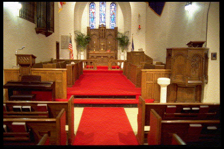 Close up view of the interior of Fort Snelling Memorial Chapel aisle and seating.