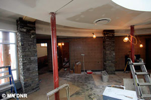 Slatework in the lobby is nearly finished