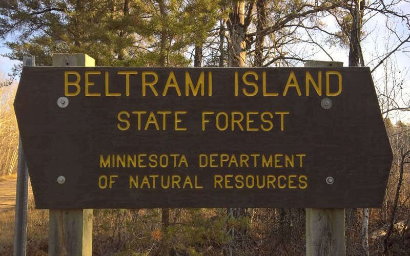 Beltrami Island State Forest entrance sign