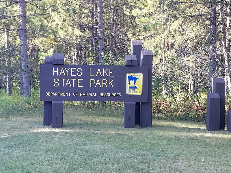 Hayes Lake State Park entrance sign