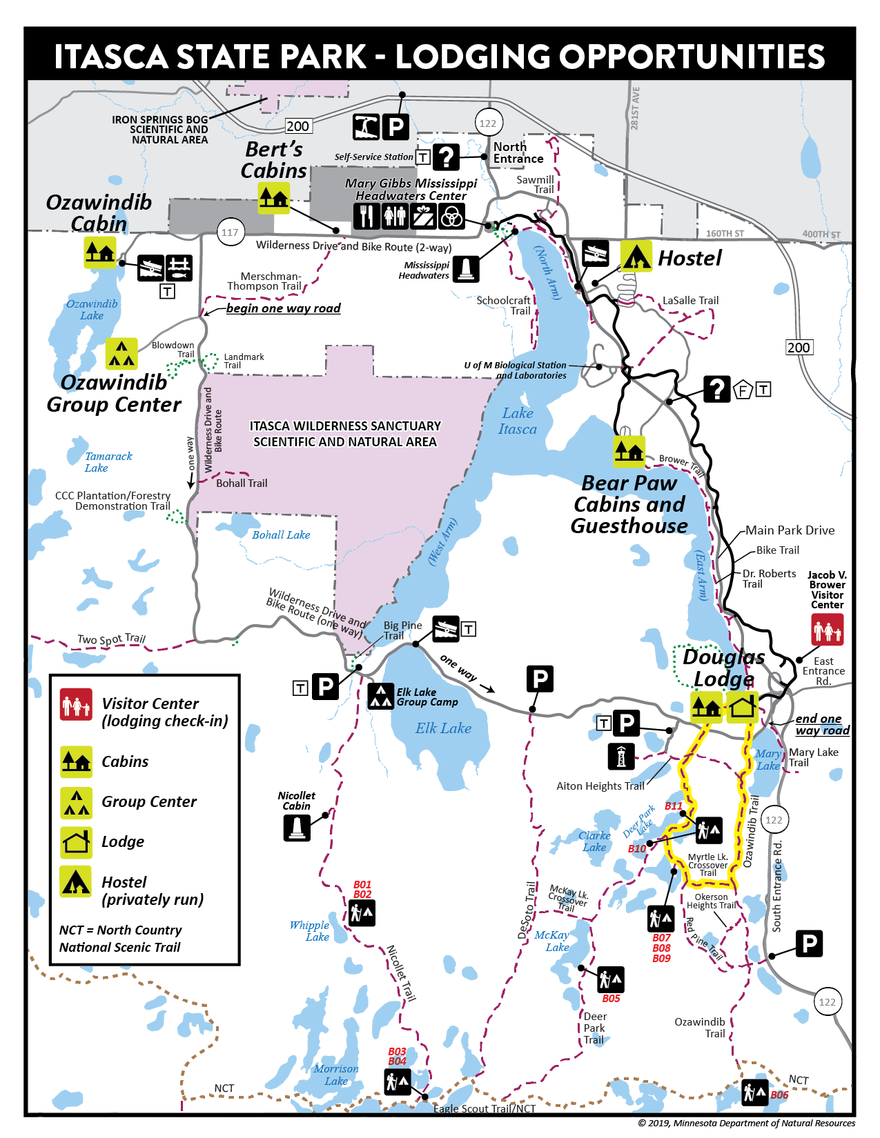 Itasca State Park lodging map