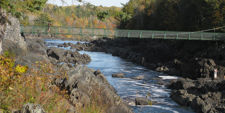 Jay Cooke State Park State features a historic swinging bridge.