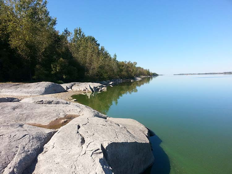 The rocky shore of Lac qui Parle Lake