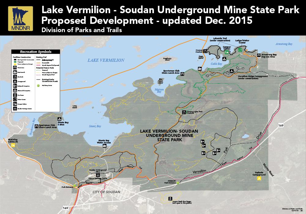 Map of Lake Vermilion-Soudan Underground Mine State Park.