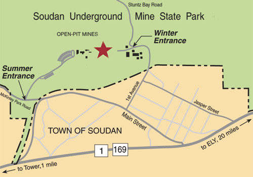 Detail map of directions to Soudan Underground Mine.