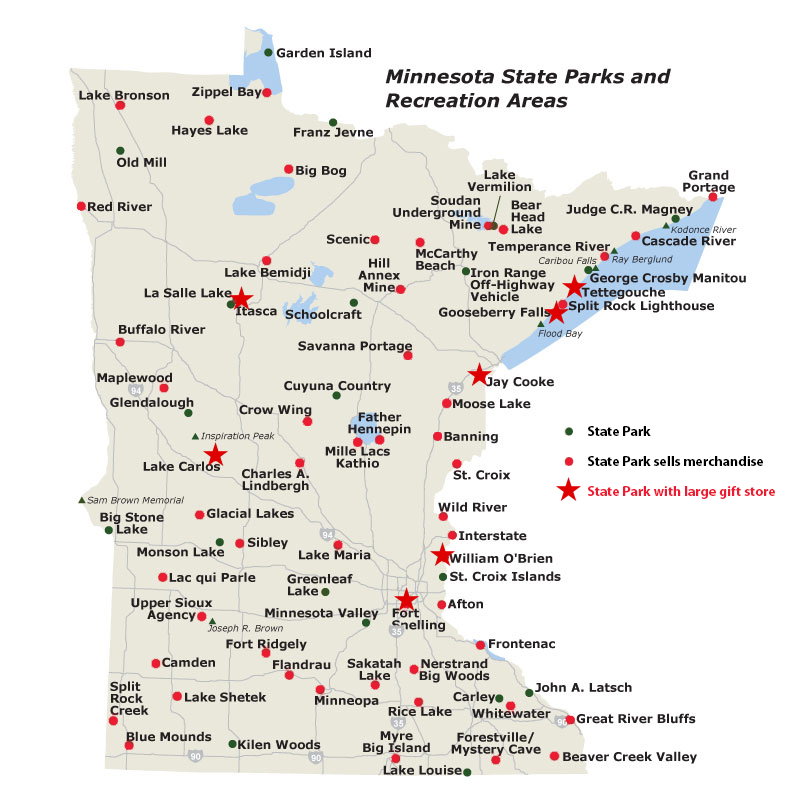 State map showing Minnesota State Park Nature Store locations