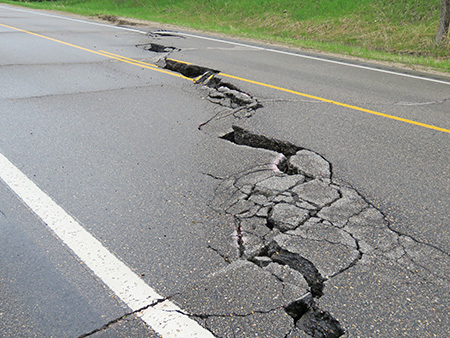 Collapsed pavement on both sides of Highway 67 (MnDOT photo)