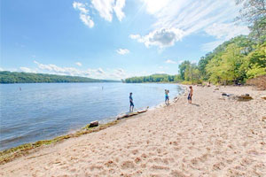 Photo of people playing at the Afton State Park swimming beach.