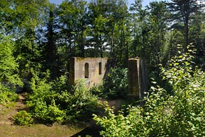 Photo of the the remnants of a historic building once used by the quarry, that hikers will view on the Quarry Loop Trail.