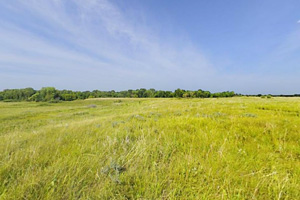 Photo of blue sky and prairie wetlands along the Big Sky Trail.