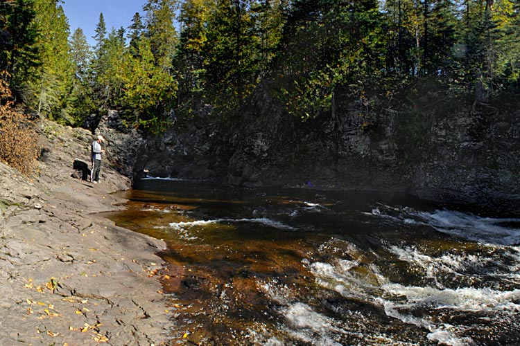Photo of fishing on the Cascade River for brook trout, rainbow trout, pink salmon, and Chinook salmon.