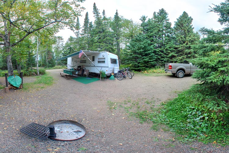 Photo of the campground host location, who offer approved firewood and help visitors with their campground questions.