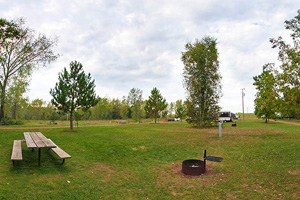 Photo of the Portsmouth Campground, located on the northwest shore of the Portsmouth Mine Lake.
