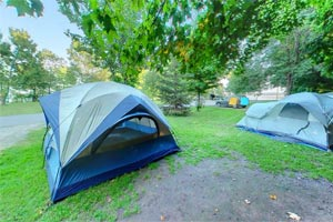 Photo of tents set up at Father Hennepin State Park's very popular Lakeview Campground.