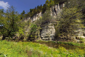 Photo of limestone cliffs along the South Branch Root River.