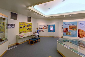 Photo of the interior of the Mystery Cave Visitor Center, a headquarters for cave tours, displays and shopping.