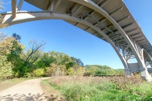 Photo of the trail beneath the Mendota Bridge.