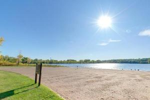 Photo of the swimming beach along the east shore of Snelling Lake.