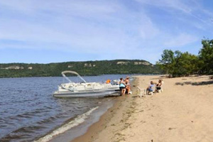 Photo of Sand Point, a place to sit in the sand along the shores of Lake Pepin.