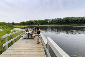 Photo of the wooden fishing pier, on the south side of Signalness (Mountain) Lake.