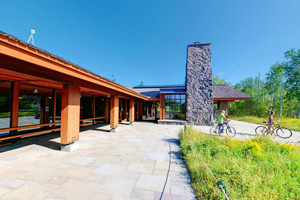 Photo of the front of the Visitor Center at Gooseberry Falls State Park.
