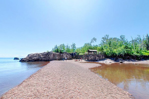 Photo of Agate Beach on the shores of Lake Superior, at Gooseberry Falls State Park.