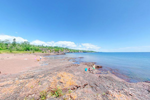 Photo of the Lake Superior shoreline at Gooseberry Falls State Park.