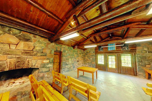 Photo of the interior of the historic CCC Lady Slipper Lodge at Gooseberry Falls State Park.