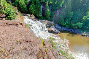 Photo of the eastern Lower Falls at Gooseberry Falls State Park.