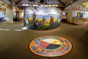 Photo of interpretive displays, including seasonal activities depicted in four mural vignettes.