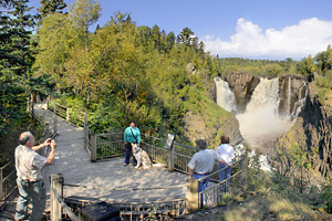 Photo of visitors enjoying the view the High Falls.