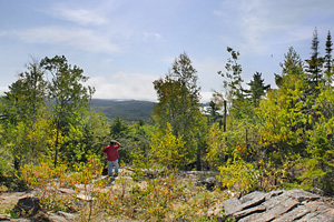 Photo of the trail to Middle Falls featuring incredible views over Lake Superior.
