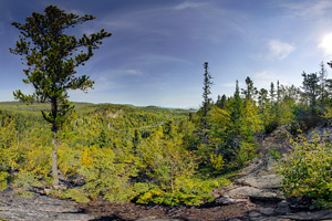 Photo of an overlook on the Middle Falls Trail that is situated over 400 vertical feet above Lake Superior.