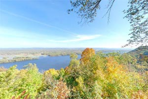 Photo of the view from the South Overlook, looking out over miles and miles of the Mississippi River Valley.