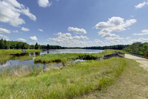 Photo of the the lake and the parkland that were named in honor of A. F. Hayes, an early settler.