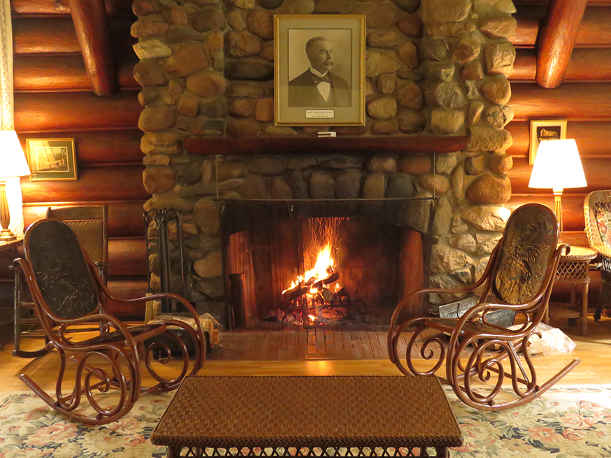 Photo of the parlor and sitting area inside Douglas Lodge.
