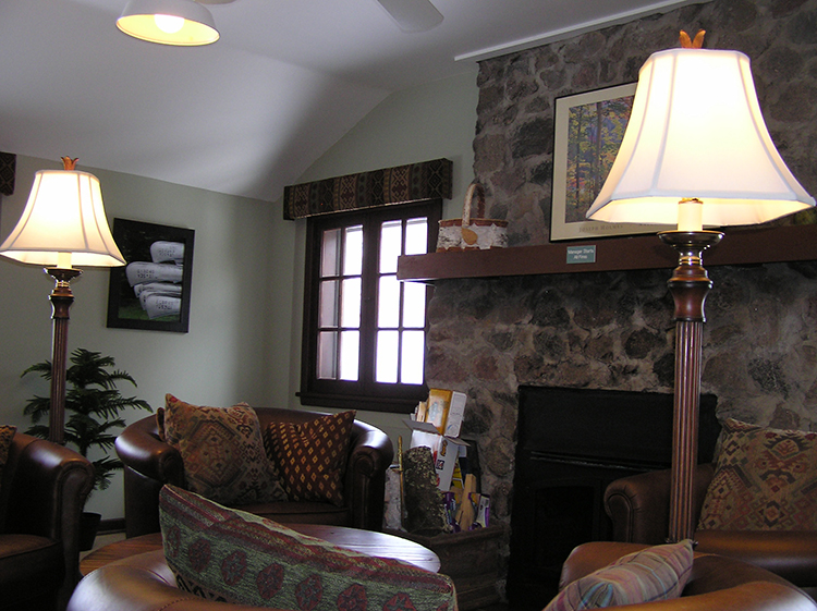 Photo of the reception/living area inside the hostel.