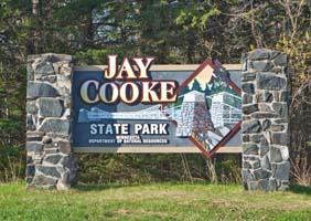 Photo of the Jay Cooke State Park entrance sign.