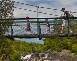 Photo of people crossing the swinging bridge.