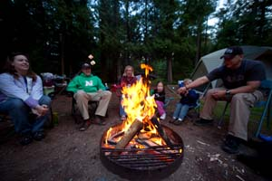 Photo of a family gathered around a campfire, toasting marshmallows.