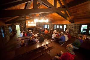 Photo of a class underway in the interpretive center.