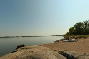 Photo of the sandy swimming beach along Lac qui Parle Lake.