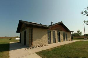 Photo of the upper campground modern shower facilities.