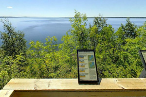 Photo of the Rocky Point Overlook with its spectacular view high over Lake Bemidji.