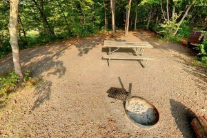 Photo of a fire ring with grill and picnic table at this partially-shaded campsite.