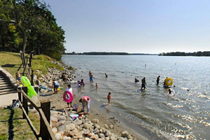 Photo of the beach on the park's swimming area.