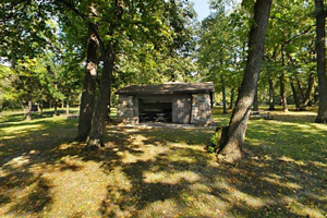 Photo of the park's picnic grounds, offering picnic shelters that may be reserved.